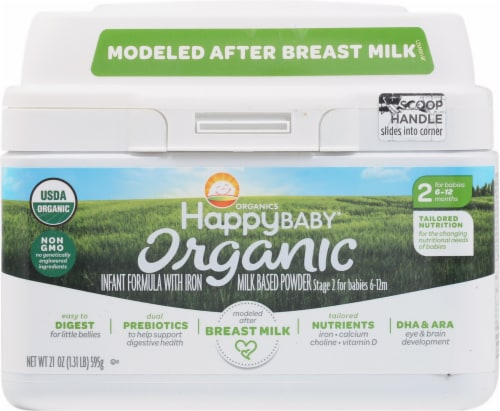 Happy Baby Organic Stage 2 Infant Formula Powder with Iron Perspective: front