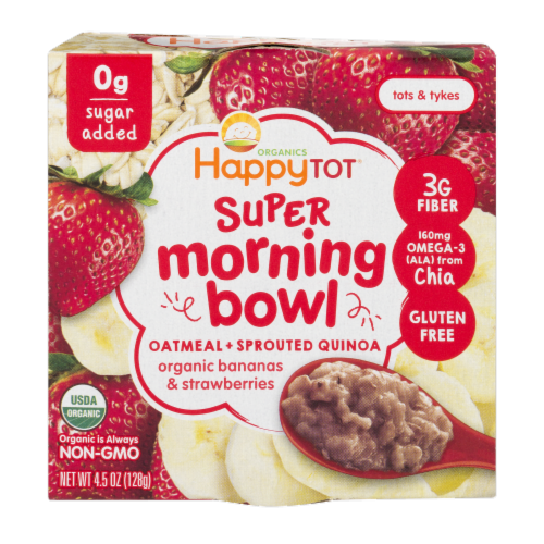 Happy Tot Organic Banana & Strawberries Super Morning Quinoa Bowl Perspective: front