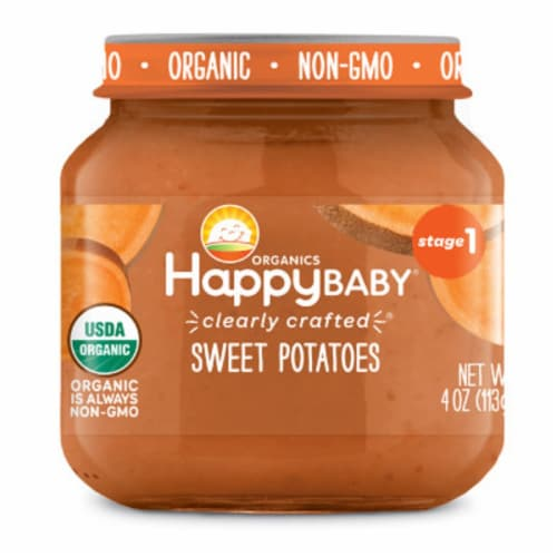 Happy Baby Organics Sweet Potatoes Stage 1 Baby Food Perspective: front