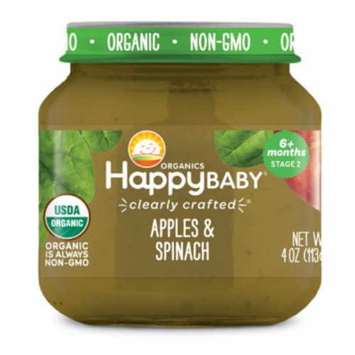 Happy Baby Organics Apples & Spinach Stage 2 Baby Food Perspective: front