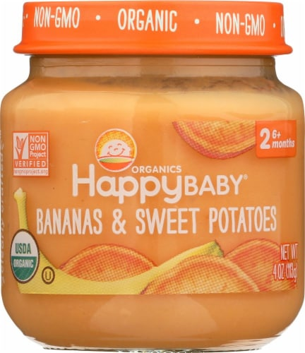 Happy Baby® Organics Stage 2 Bananas & Sweet Potatoes Baby Food Perspective: front