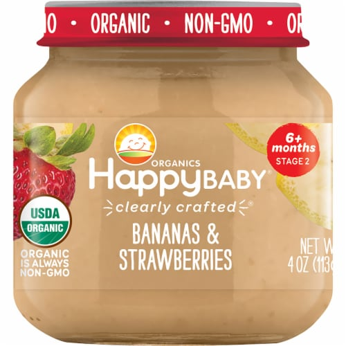 Happy Baby Organics Bananas & Strawberries Stage 2 Baby Food Perspective: front
