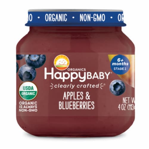 Happy Baby Organics Apples & Blueberries Stage 2 Baby Food Perspective: front