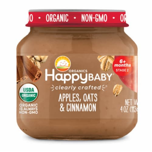 Happy Baby Organics Apples Oats & Cinnamon Stage 2 Baby Food Perspective: front