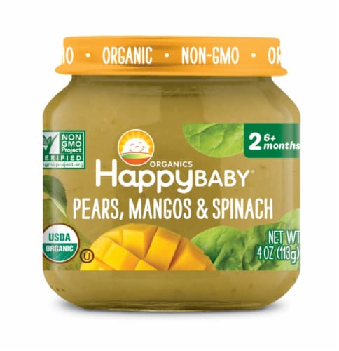 Happy Baby Organics Pears Mangos & Spinach Stage 2 Baby Food Puree Perspective: front