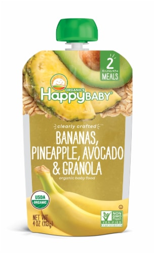 Happy Baby Bananas Pineapple Avocado & Granola Baby Food Perspective: front