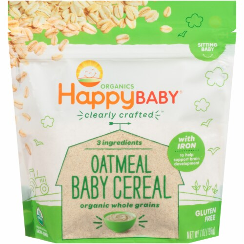 Happy Baby Organics Clearly Crafted Gluten Free Oatmeal Baby Cereal Perspective: front