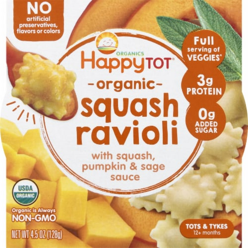 Happy Tot Organic Squash Pumpkin & Sage Ravioli Bowl Perspective: front