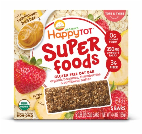 Happy Tot Bananas Strawberries & Sunflower Butter Organic Gluten Free Stage 4 Baby Food Perspective: front