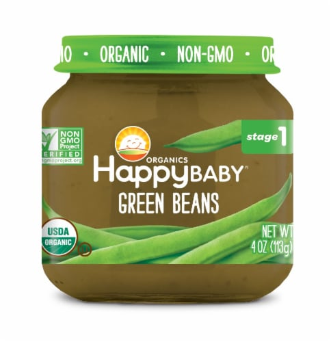 Happy Baby Organics Green Beans Stage 1 Baby Food Perspective: front