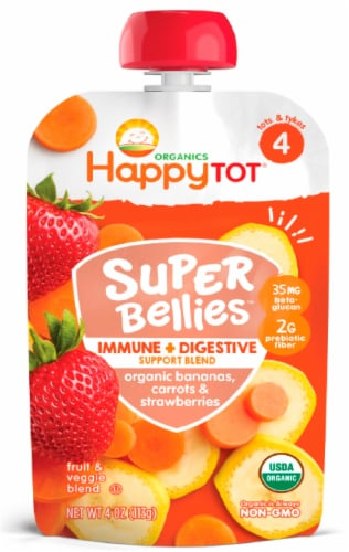 Happy Tot Organics Super Bellies Bananas Carrots & Strawberries Stage 4 Baby Food Perspective: front