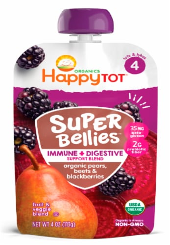 Happy Tot Organics Super Bellies Pears Beets & Blackberries Stage 4 Baby Food Pouch Perspective: front