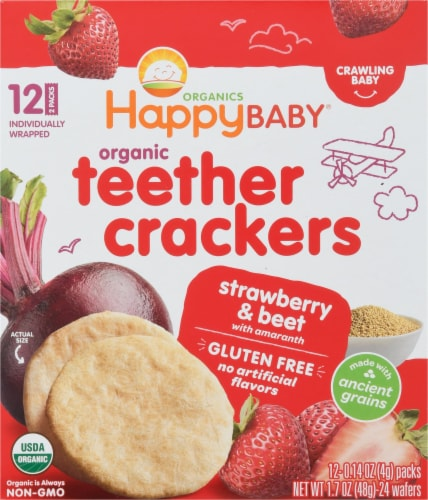 Happy Baby Organics Strawberry & Beet Crawling Baby Teether Crackers Perspective: front