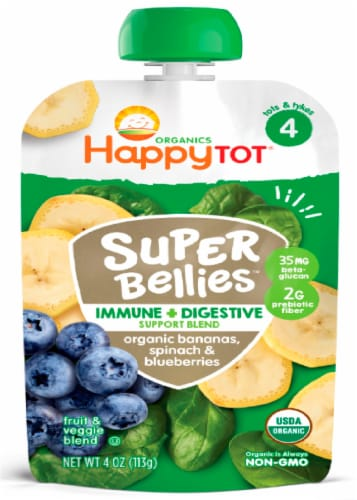 Happy Tot Organics Stage 4 Bananas Spinach & Blueberries Immune + Digestive Support Blend Baby Food Perspective: front