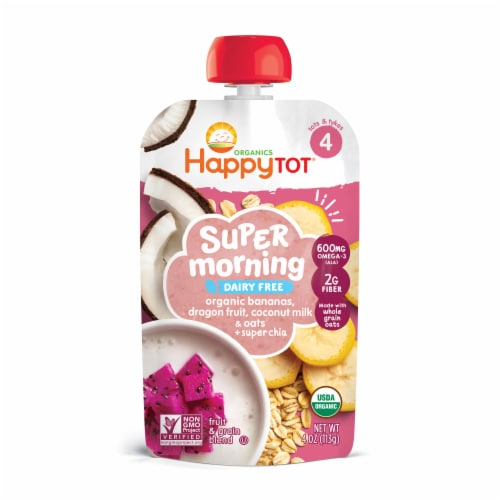Happy Tots Stage 4 Organic Dairy Free Super Morning Blend Pouches Perspective: front