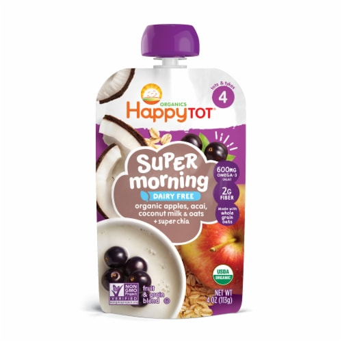 Happy Tot Organics Stage 4 Dairy Free Super Morning Blend Pouches Perspective: front