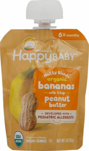 Happy Baby Organics Nutty Blends Banana with Peanut Butter Baby Food Pouch Perspective: front