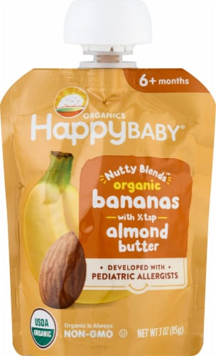 Happy Baby Organics Nutty Blends Banana with Almond Butter Baby Food Pouch Perspective: front