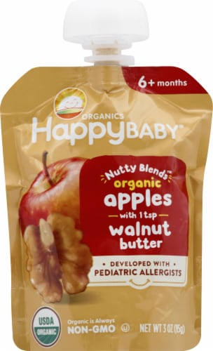 Happy Baby Organics Nutty Blends Apples with Walnut Butter Baby Food Perspective: front