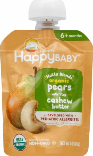 Happy Baby Organics Nutty Blends Organic Pears with Cashew Butter Baby Food Perspective: front