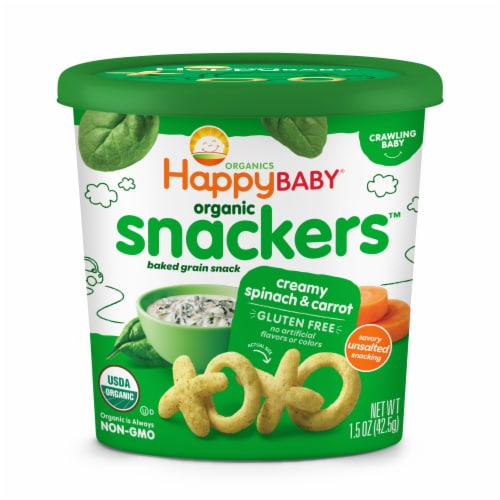 Happy Baby Organic Snackers Gluten Free Creamy Spinach & Carrot Baked Grain Snack Perspective: front