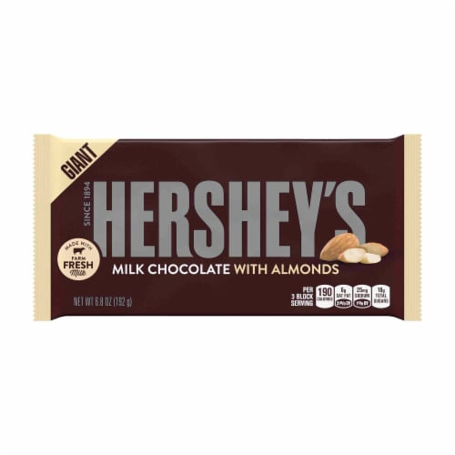 Hershey's Milk Chocolate Giant Candy Bars With Almonds Perspective: front