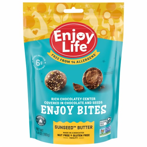 Enjoy Life Gluten-Free Sunseed Butter Chocolate Protein Bites Perspective: front
