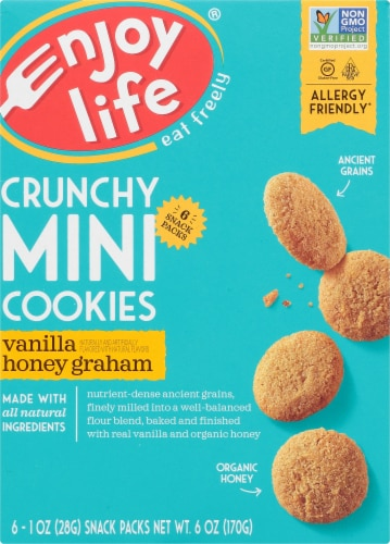 Enjoy Life Gluten-Free Crunchy Mini Vanilla Honey Graham Cookies 6 Count Perspective: front