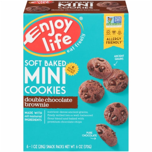 Enjoy Life Double Chocolate Brownie Soft Baked Mini Cookies Perspective: front