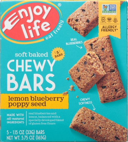 Enjoy Life Gluten-Free Lemon Blueberry Poppyseed Soft Baked Chewy Bars Perspective: front