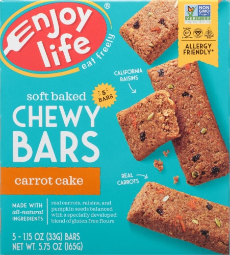 Enjoy Life Gluten-Free Carrot Cake Soft Baked Chewy Bars Perspective: front
