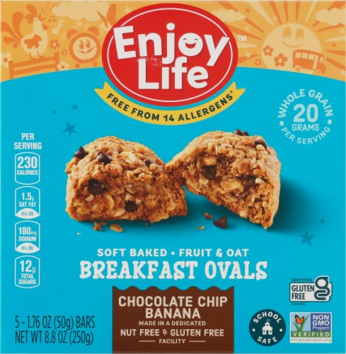Enjoy Life Gluten-Free Chocolate Chip Banana Breakfast Ovals Perspective: front