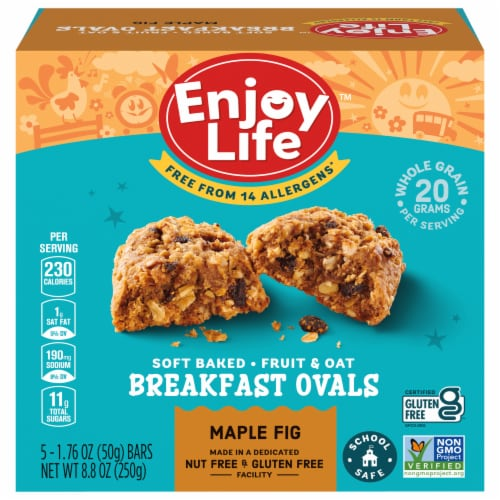 Enjoy Life Gluten-Free Maple Fig Breakfast Ovals 5 Count Perspective: front