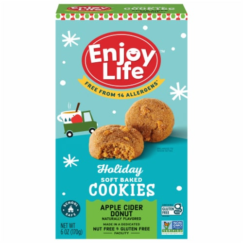 Enjoy Life Gluten-Free Soft Baked Apple Cider Donut Cookies Perspective: front