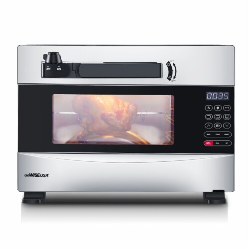 GoWISE USA 27-Quart Electric Programmable Pressure Oven w/Rotisserie, Silver Perspective: front