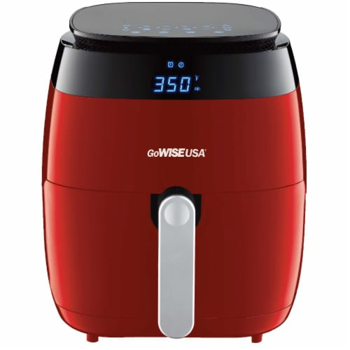 GoWISE USA 5.0-Quart 1500-Watt Digital Air Fryer, (Red) Perspective: front