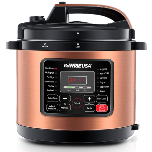 GoWISE USA 10-Quarts 12-in-1 Electric Pressure Cooker (Copper) Perspective: front