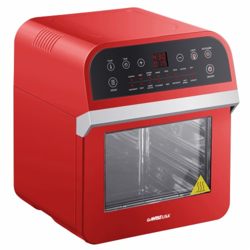 GoWISE USA Deluxe 12.7-Quarts 15-in-1 Electric Air Fryer Oven, Red Perspective: front