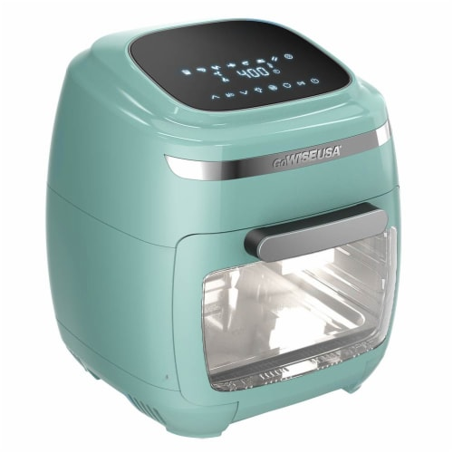 GoWISE USA 11.6-Quart Air Fryer Toaster Oven, Vibe, Mint/Silver Perspective: front