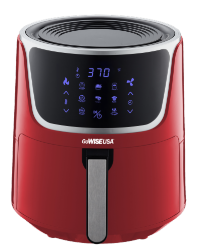 GoWISE USA 7-Quart Electric Air Fryer with Dehydrator, Red/Silver Perspective: front