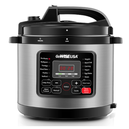 GoWISE USA 6-Quart 12-in-1 Multi-Use Programmable Pressure Cooker, Stainless Steel Perspective: front
