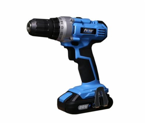 Pulsar 20V Cordless Lithium-Ion Drill/Driver - Black/Blue Perspective: front