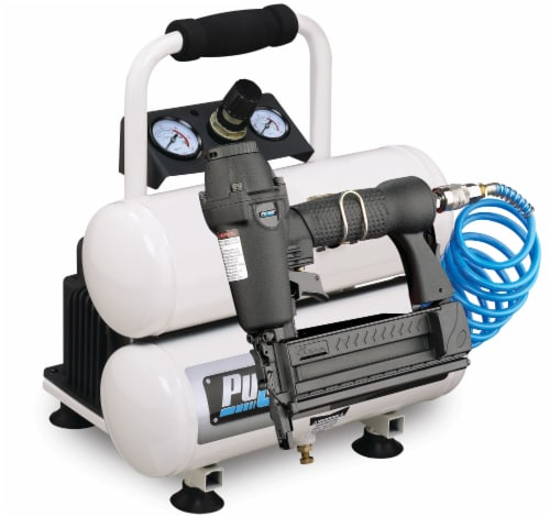 Pulsar Twin Tank Air Compressor with Nail Gun Perspective: front