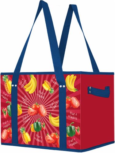 Earthwise Box Tote - Red/Blue Perspective: front