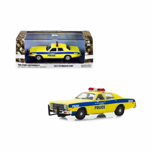 Greenlight 86568 1977 Plymouth Fury Yellow with Blue Stripes The Port Authority Of New York & Perspective: front