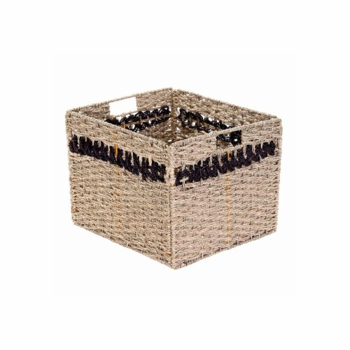 Villacera 83-DEC7081 Handmade Brown Striped Rectangle Wicker Storage Bins, Foldable Baskets S Perspective: front
