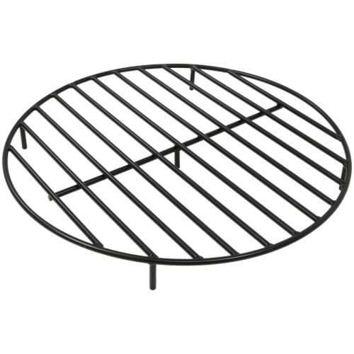 """Sunnydaze Firewood Grate Round Black Steel Outdoor Fire Pit Accessory  - 30"""" Perspective: front"""