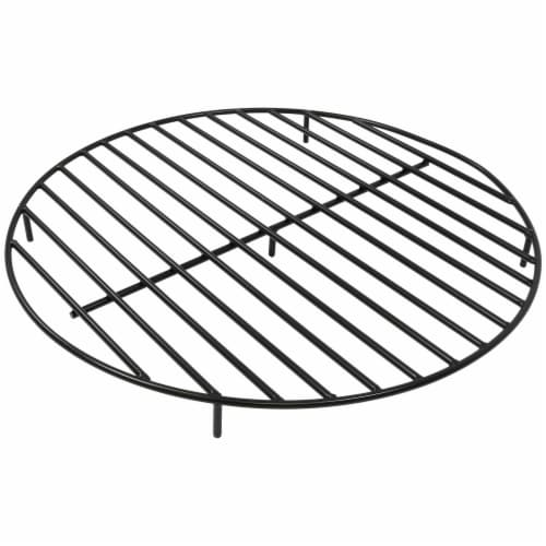 """Sunnydaze Firewood Grate Round Black Steel Outdoor Fire Pit Accessory  - 36"""" Perspective: front"""
