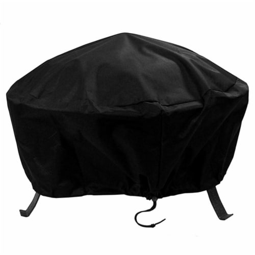 "Sunnydaze Fire Pit Cover Round Durable Waterproof 300D Polyester - Black - 30"" Perspective: front"