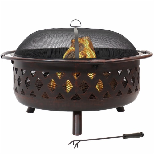 """Sunnydaze 36"""" Fire Pit Steel with Bronze Finish Crossweave with Spark Screen Perspective: front"""